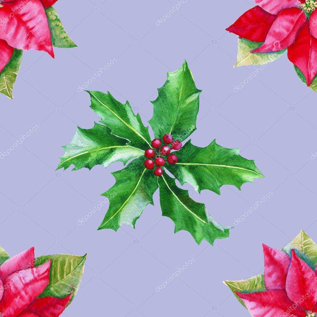 Hintergrund mit Weihnachtsstern und Holly verlässt. Nahtlose Muster ...