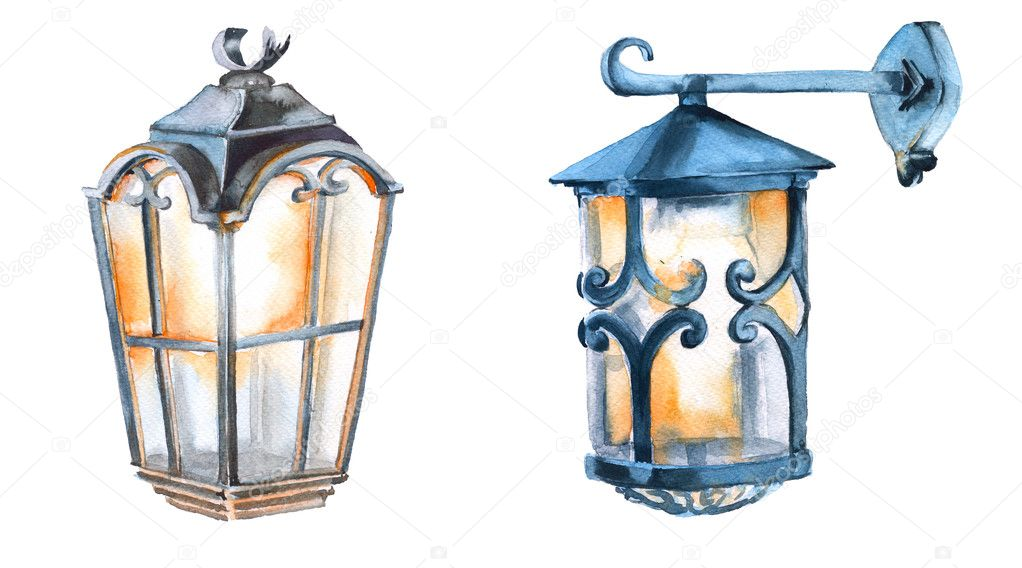 Christmas lantern. Isolated on a white background. Watercolor ...