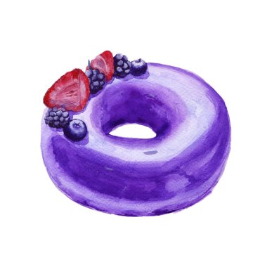 The cake in frosting. Insulated. Watercolor sketch.