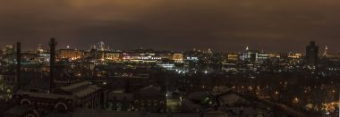 Winter panorama of the night city Moscow
