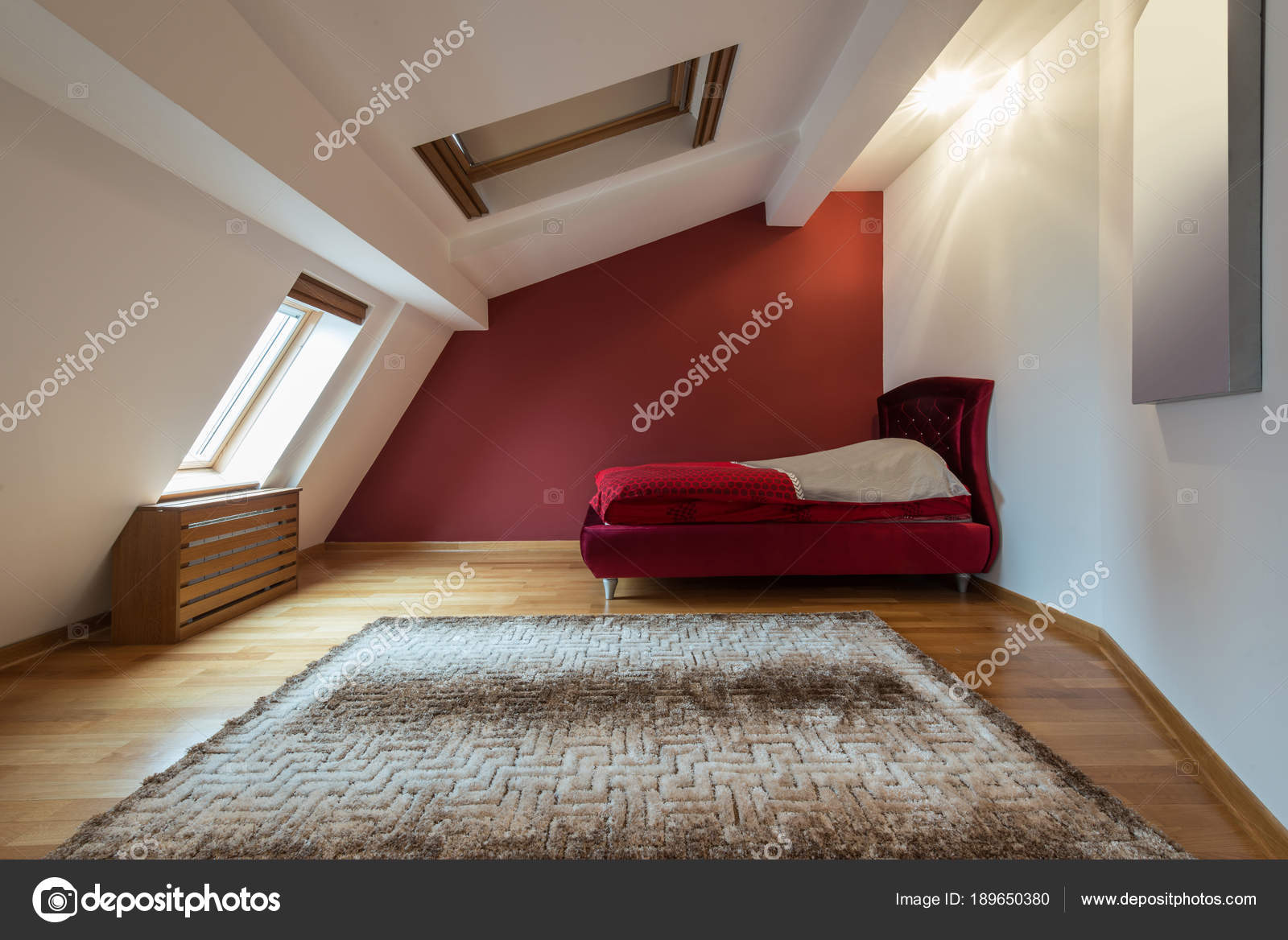 Pop Design For Roof Of Bedroom Bedroom Interior In Luxury Red Loft Attic Apartment With Roof Stock Photo C Dr Interior 189650380