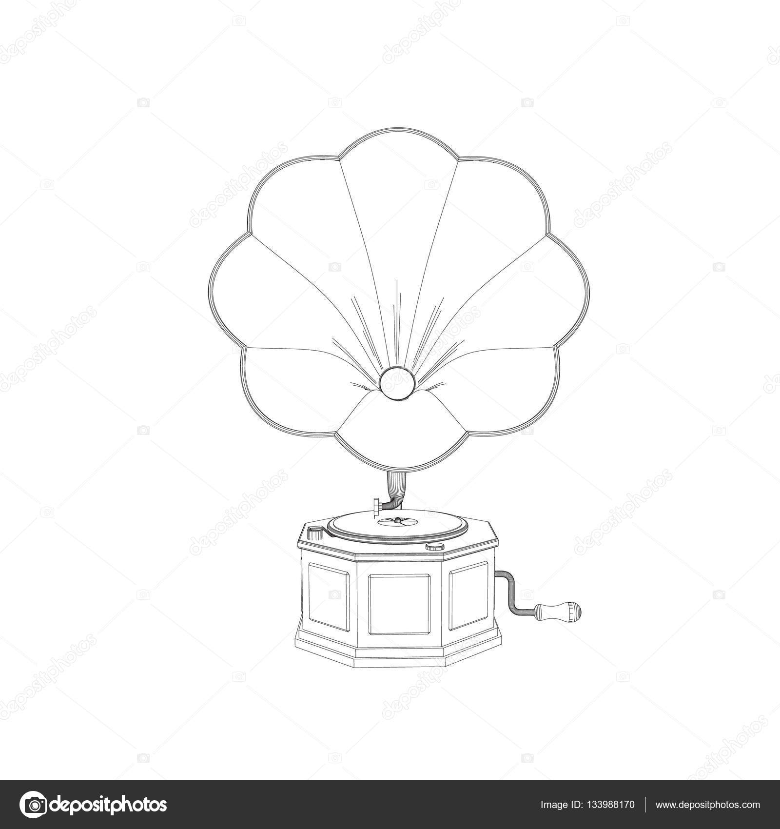 gramophone vector outline illustration front view stock vector c eestingnef 133988170 https depositphotos com 133988170 stock illustration gramophone vector outline illustration front html