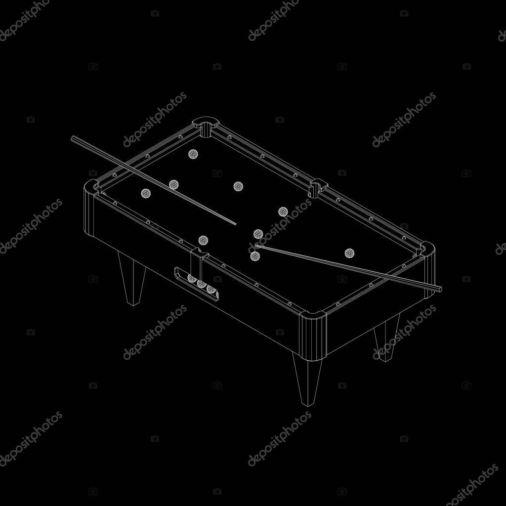Empty billiard table. Isolated on black background ... on tv schematics, pool tool ball ghost, pool hole sizes, whirlpool schematics, computer schematics, elevator schematics, pinball schematics, pool drawing, stereo schematics, air hockey schematics,