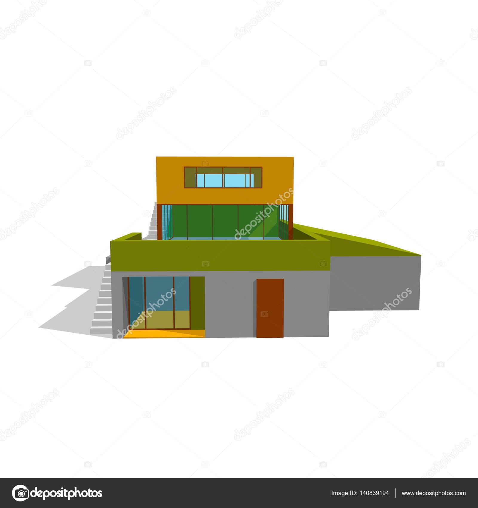 Modernes Haus. Isoliert auf weiss. 3D Vektor-illustration ...