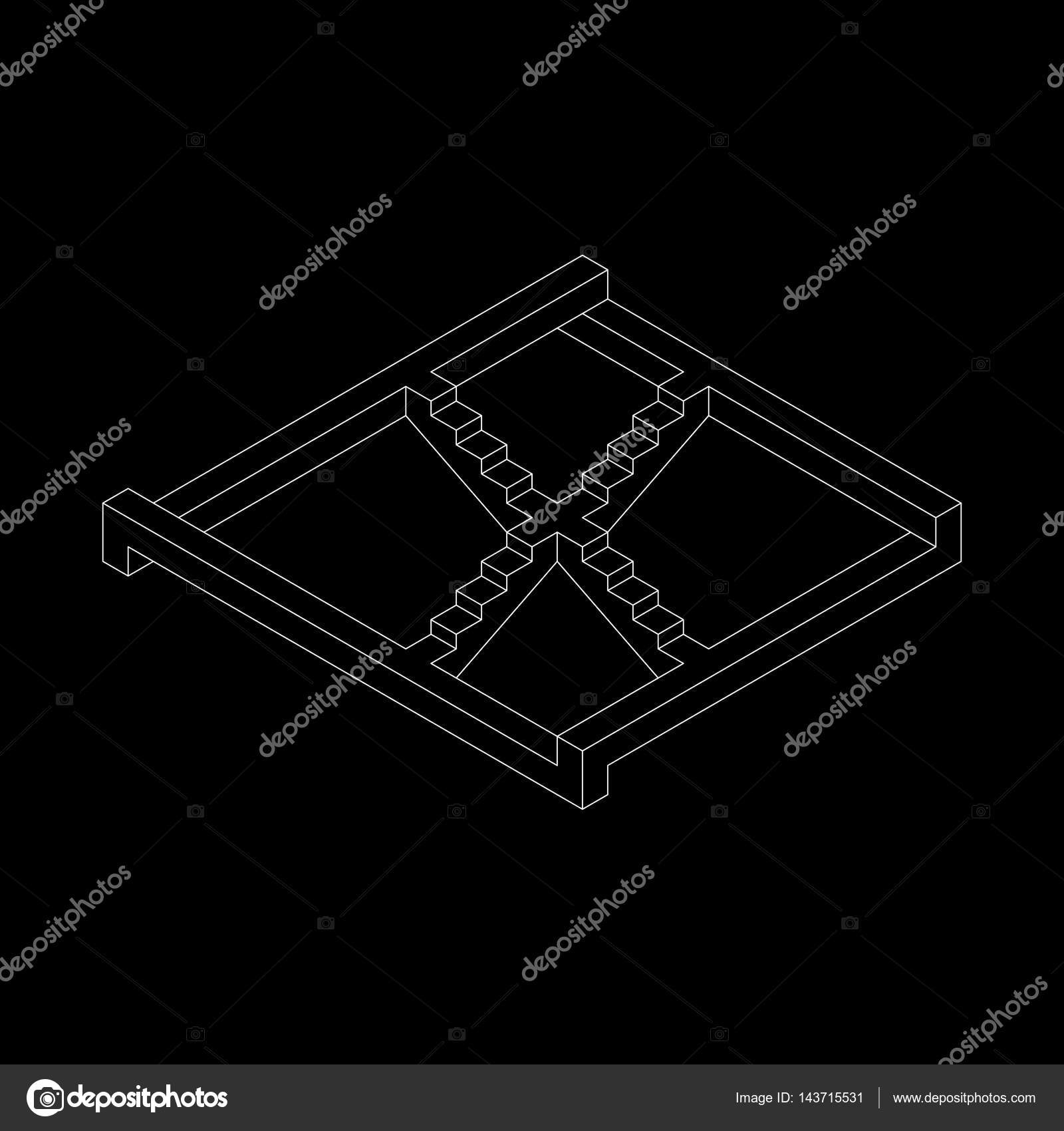 Impossible Staircase Isolated On Black Background Vector Outline