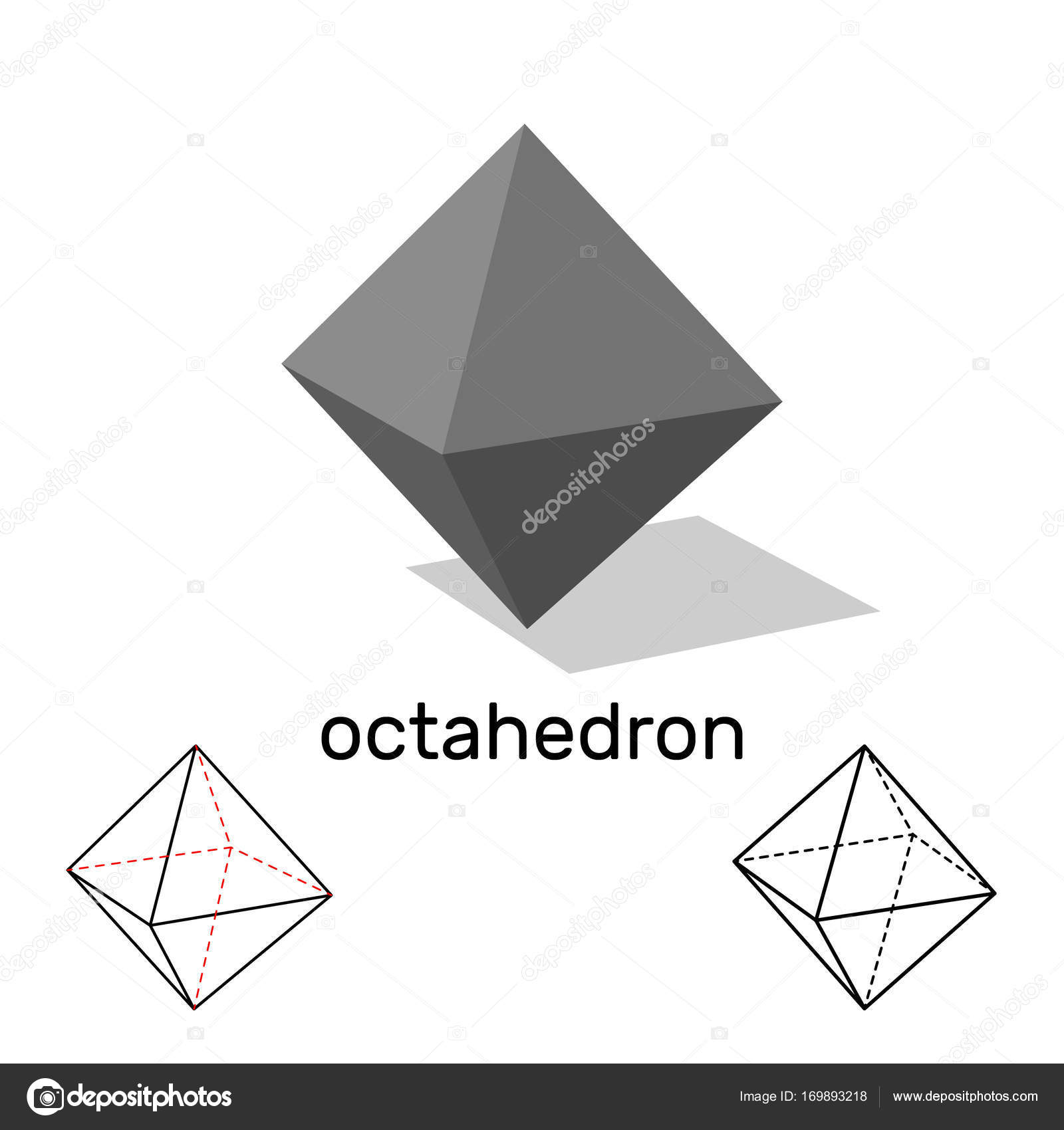 Octahedron Geometric Shape Isolated On White Background Vecto Stock Vector