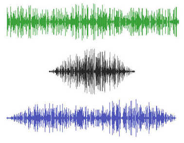 Various sound waves. Isolated on white background.Vector illustr