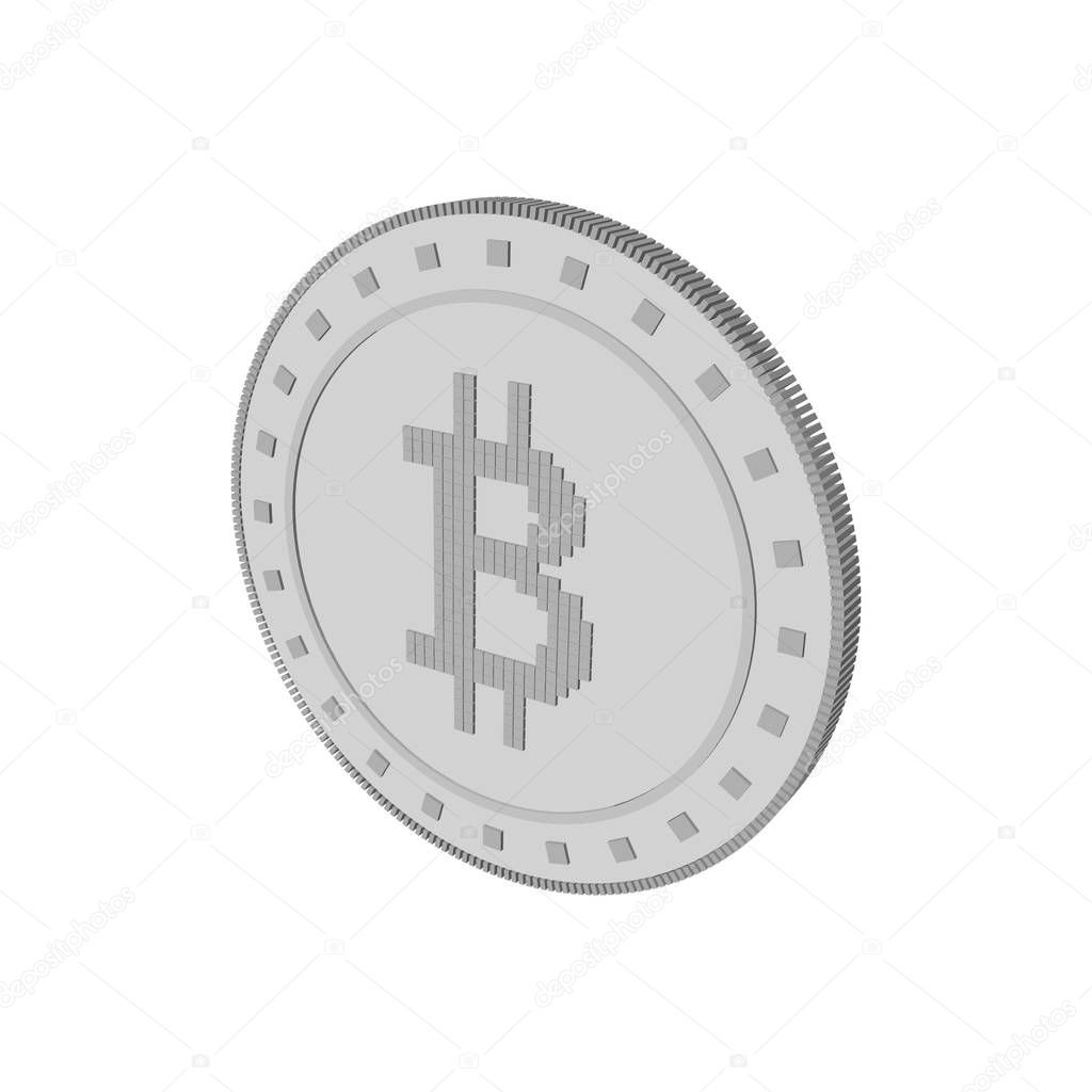 Cryptocurrency bitcoin. Isolated on white background. 3d Vector
