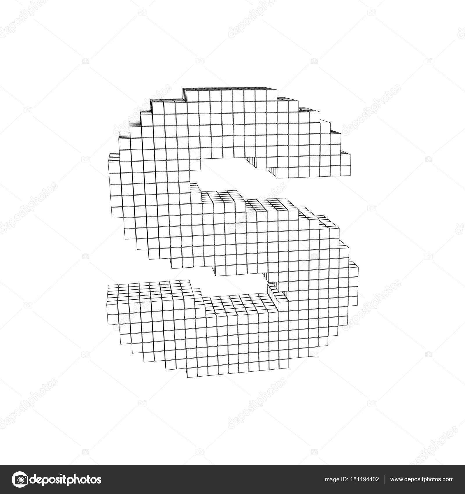 3d Pixelated Capital Letter S Isolated On White BackgroundVector Outline Illustration Vector By Eestingnef