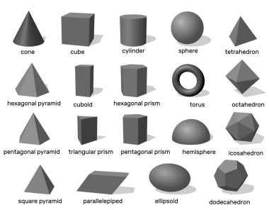 Basic 3d geometric shapes. Isolated on white background. Vector
