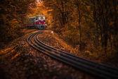 Fényképek Budapest, Magyarország - gyönyörű őszi erdőben lombozat és a régi színes vonat a pályán a magyar erdő