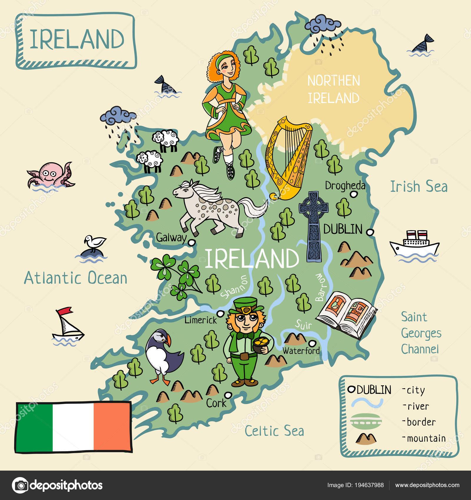 Irland Karte.Cartoon Karte Von Irland Stockvektor C Lashmipics 194637988