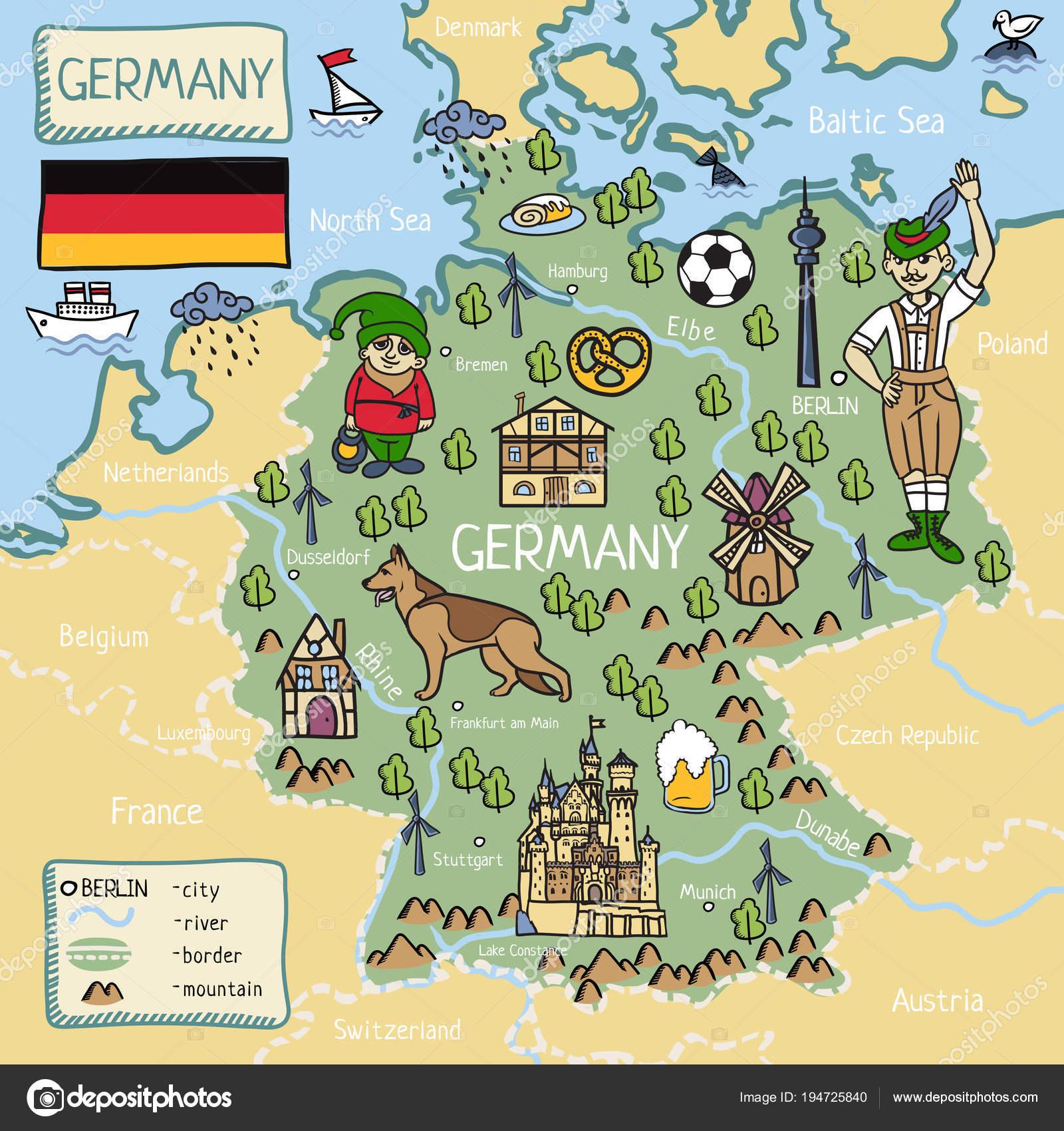 Cartoon Map Of Germany.Cartoon Map Of Germany Stock Vector C Lashmipics 194725840
