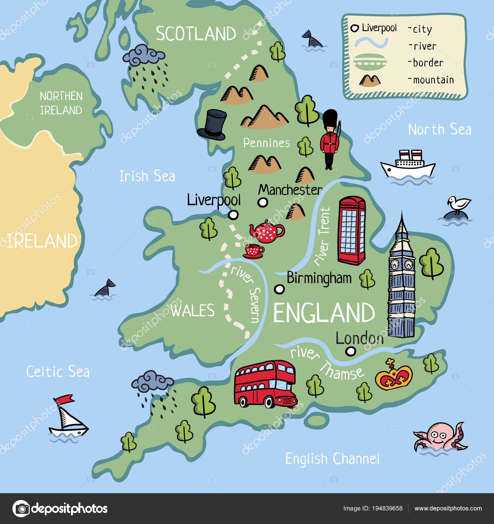 Cartoon Vector Map United Kingdom England Scotland Wells Northen