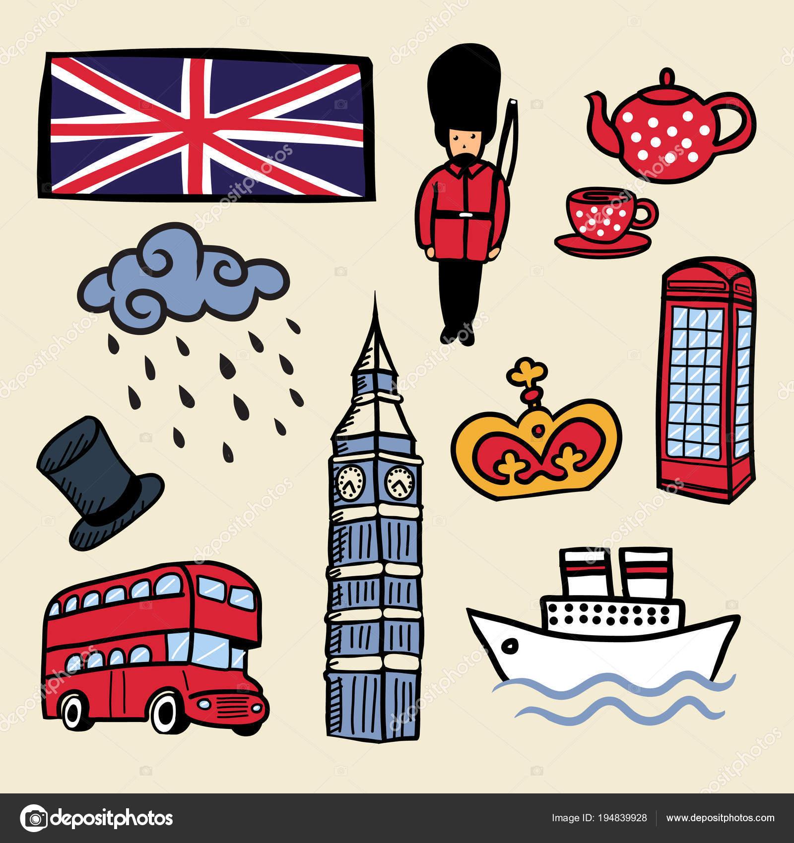 Cartoon Vector Isolated Elements United Kingdom London Stock