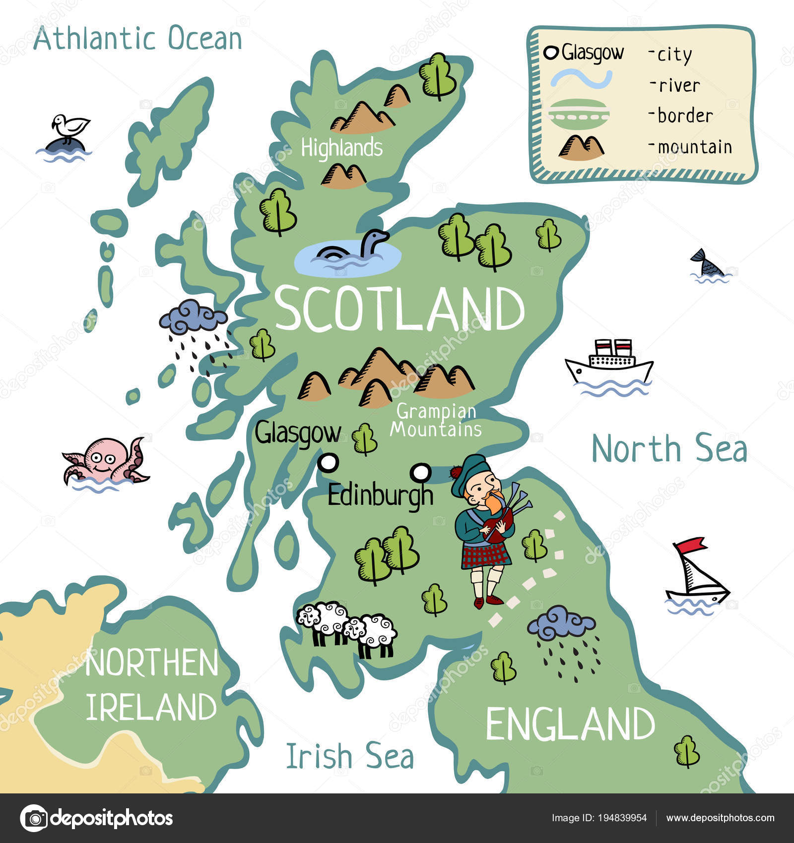 skócia térkép Rajzfilm Skócia Térkép — Stock Vektor © lashmipics #194839954