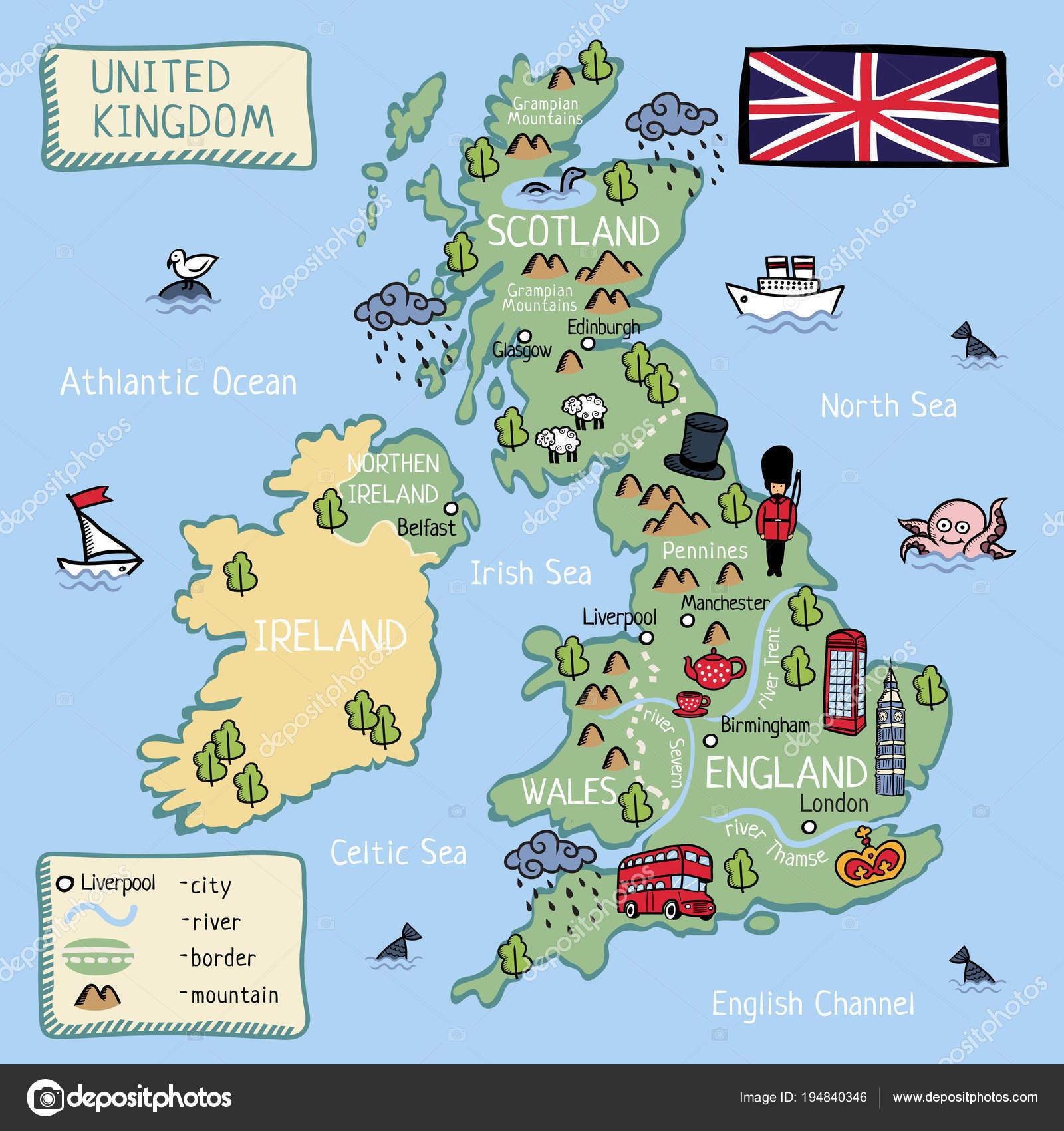 Carte Angleterre Ecosse.Dessin Anime Carte Vectorielle Royaume Uni Angleterre Ecosse Puits
