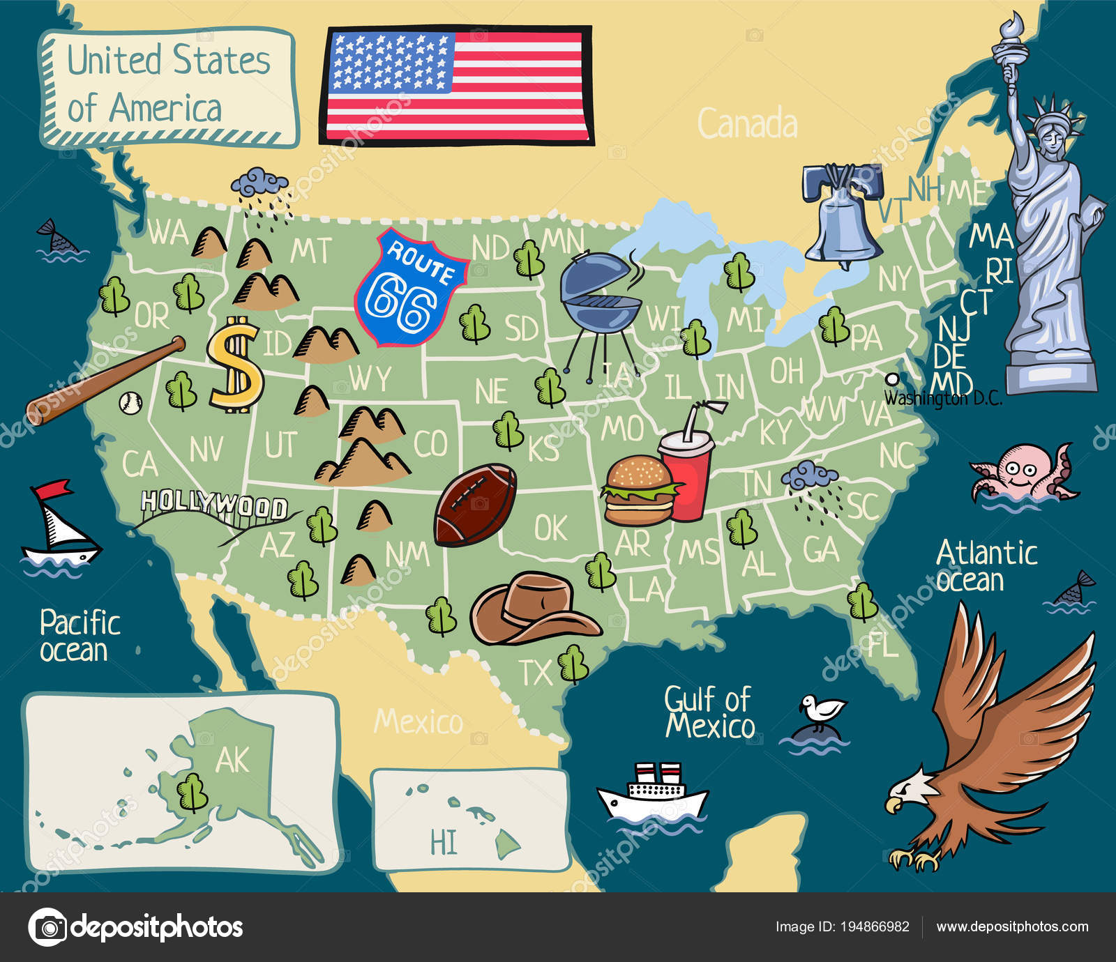 Map Of America Hollywood.United States Cartoon Map Cartoon Map United States America