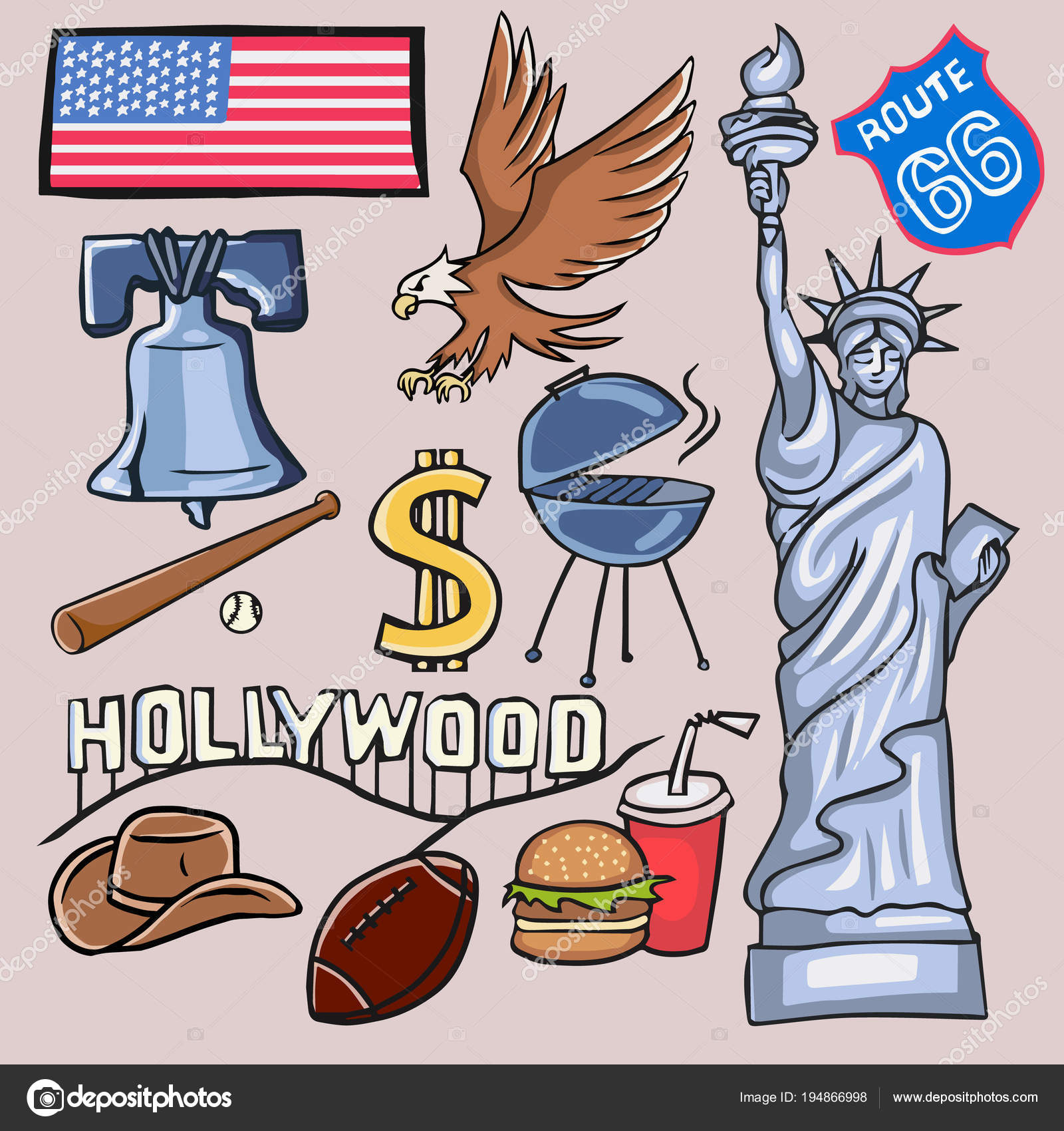 Cartoon Symbols Usa Stock Vector Lashmipics 194866998