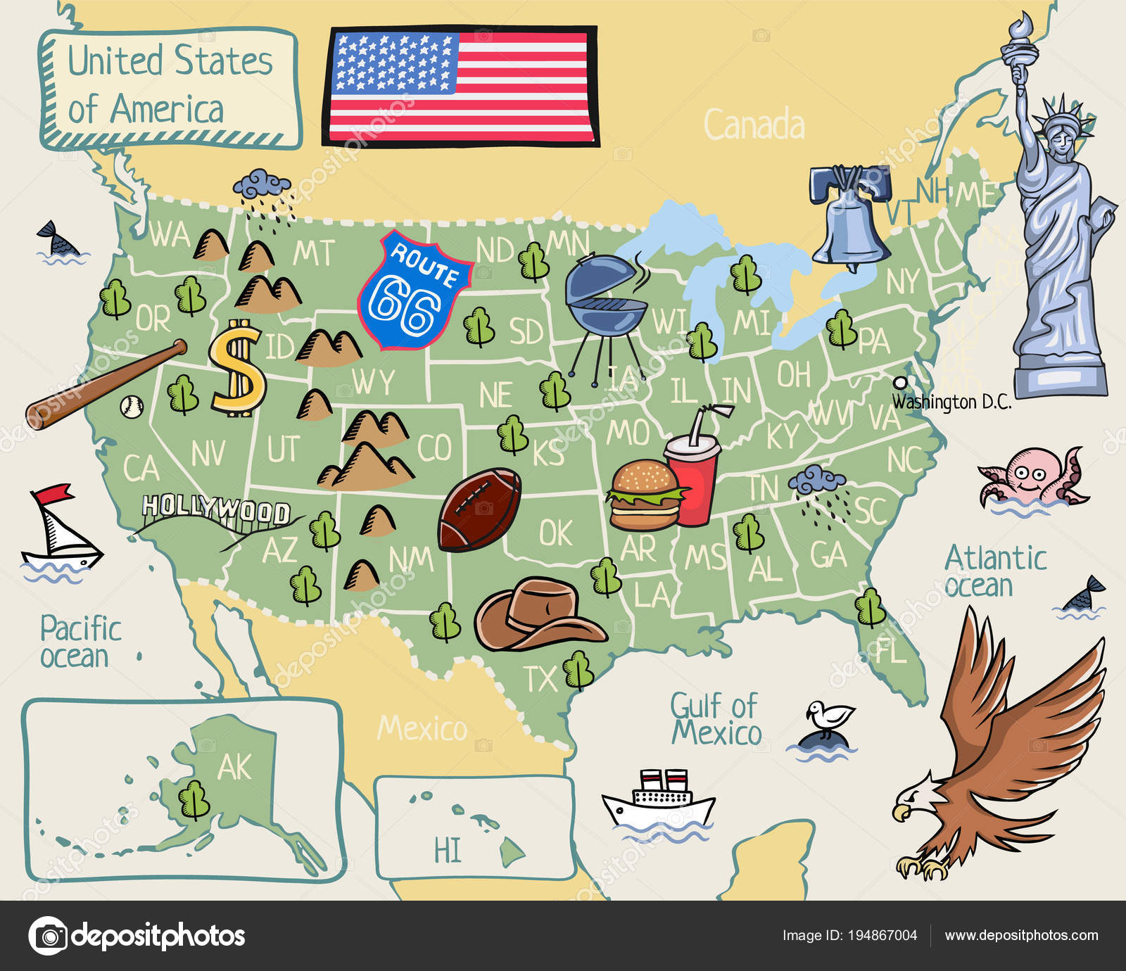 Cartoon Map United States America Stock Vector C Lashmipics 194867004 - Cartoon-map-of-the-us