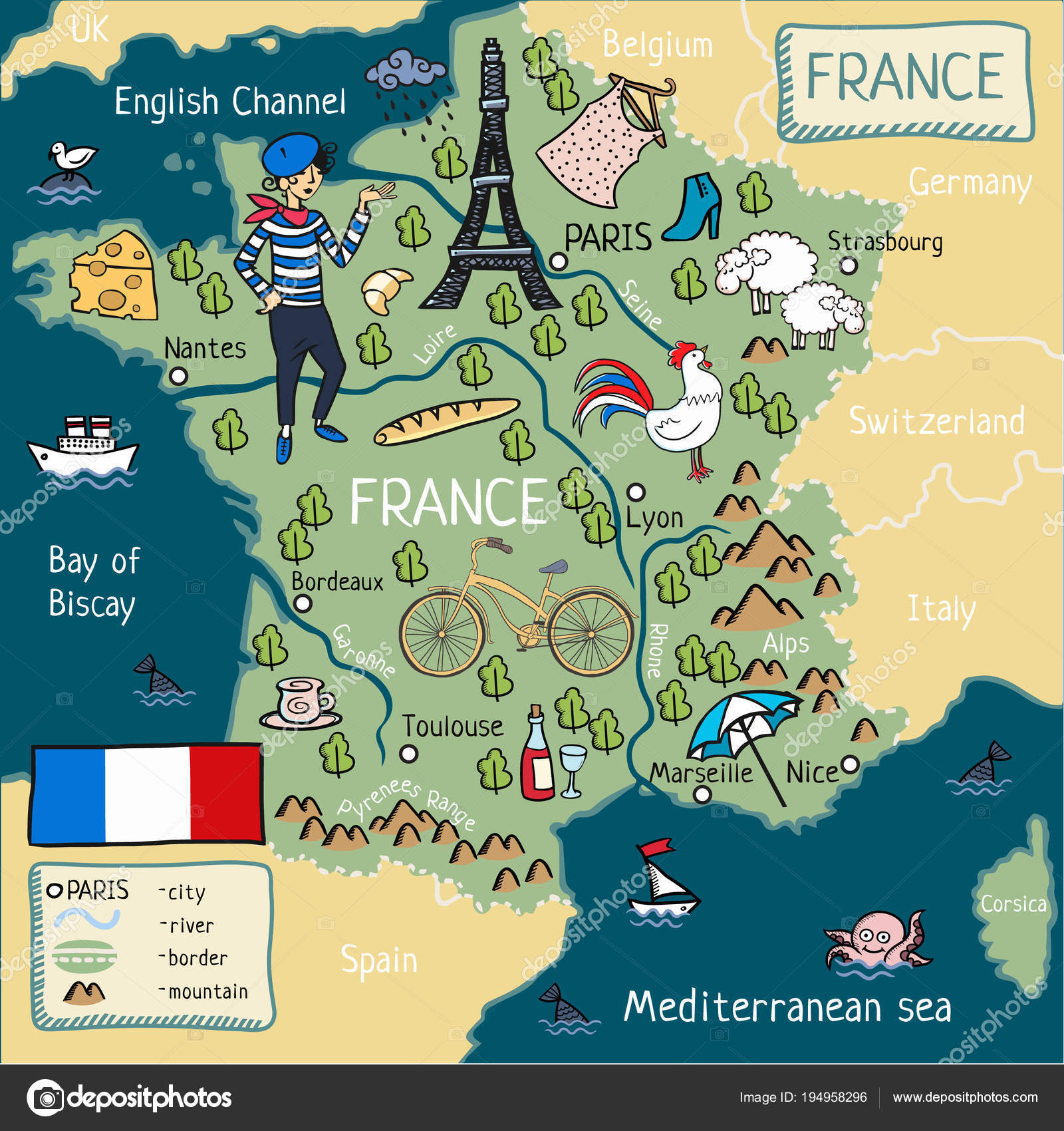 The Map Of France With The City.Cartoon Map Of France Cartoon Map France Stock Vector