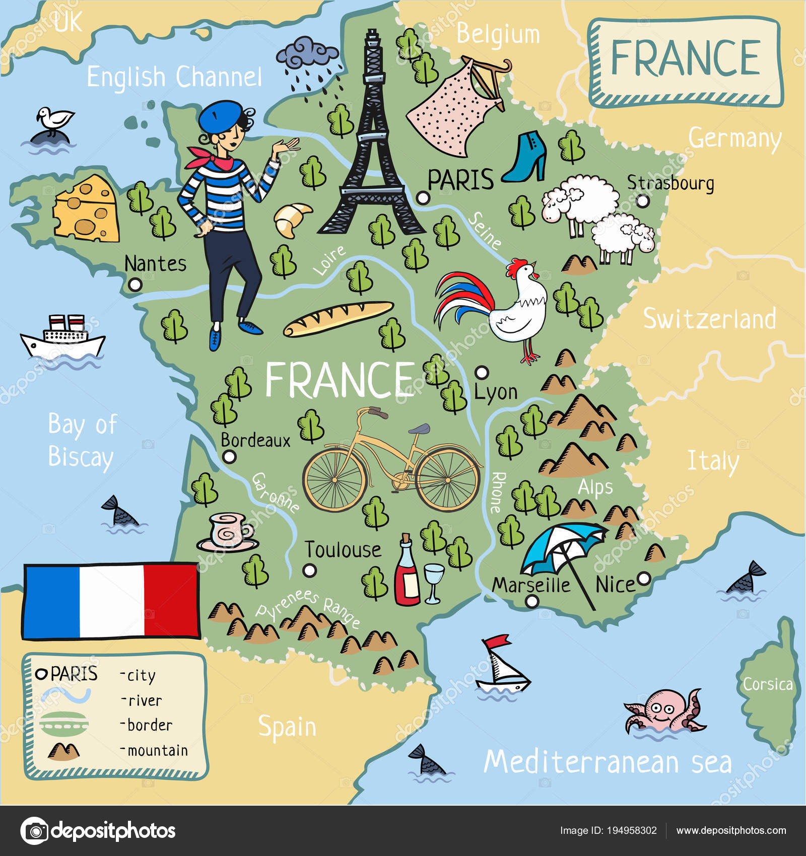 cartoon map france stock vector