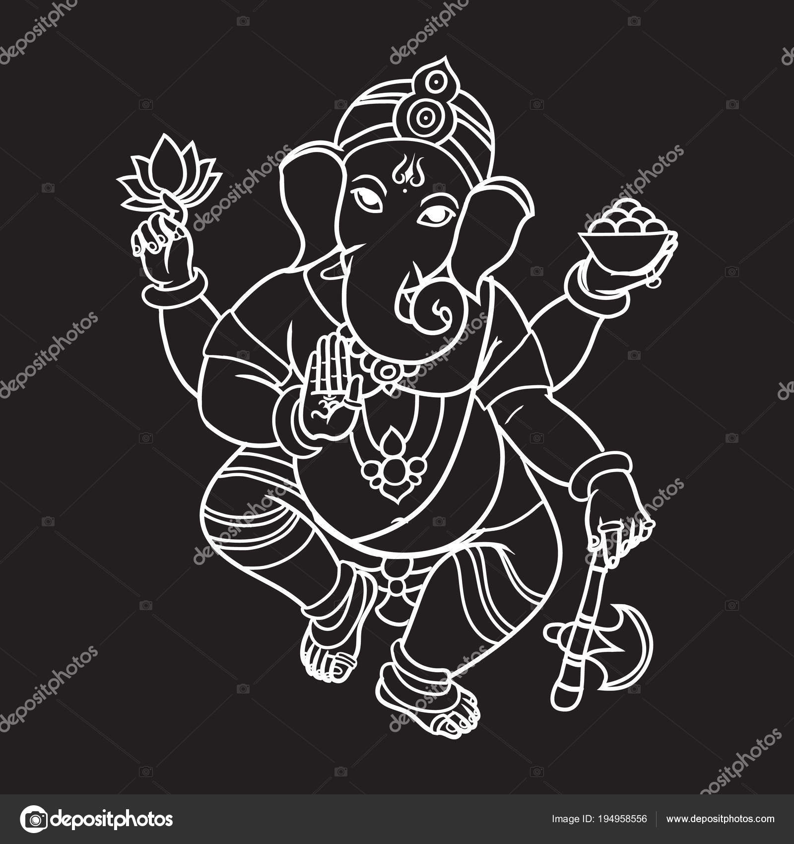 Cartoon Vector Elephant Head God Ganesha Invitation Cards Dawali