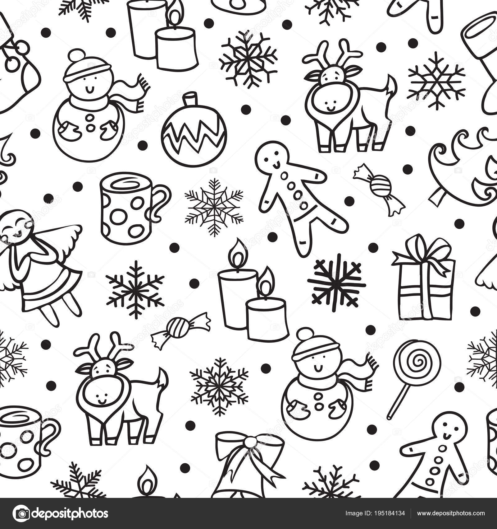 cartoon black and white seamless pattern merry christmas and happy new year vector by lashmipics