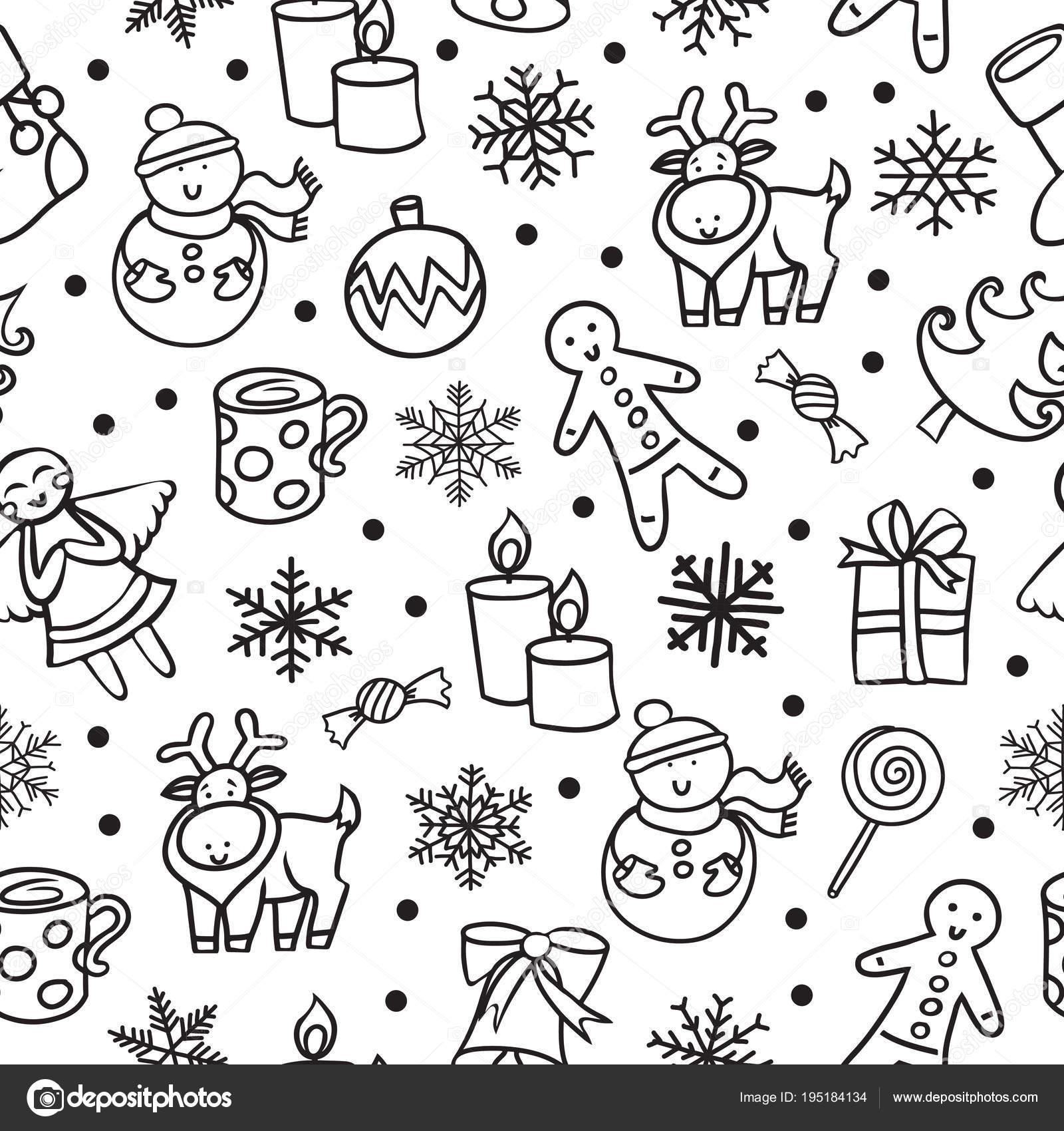 Cartoon Black White Seamless Pattern Merry Christmas Happy New Year