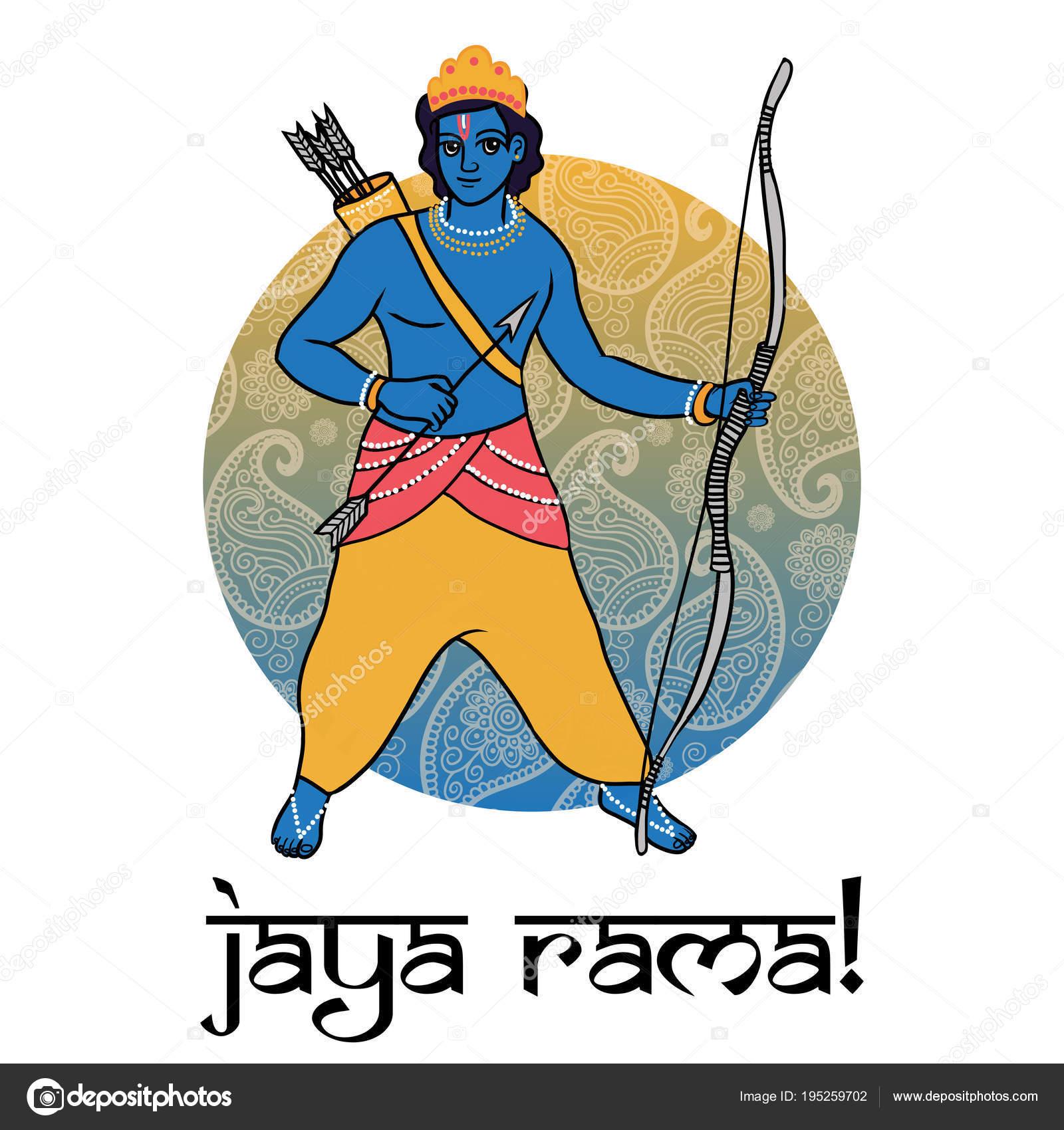 Cartoon Vector Hindu God Rama Happy Dussehra Greeting Card Poster