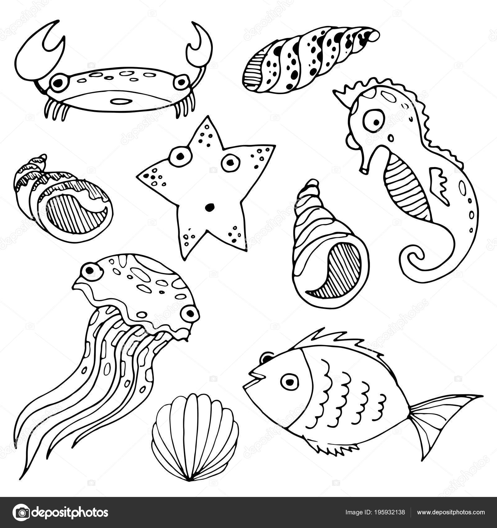 Vectores Animales Mar Dibujos Animados Dibujo Mano Dibujada Para ...