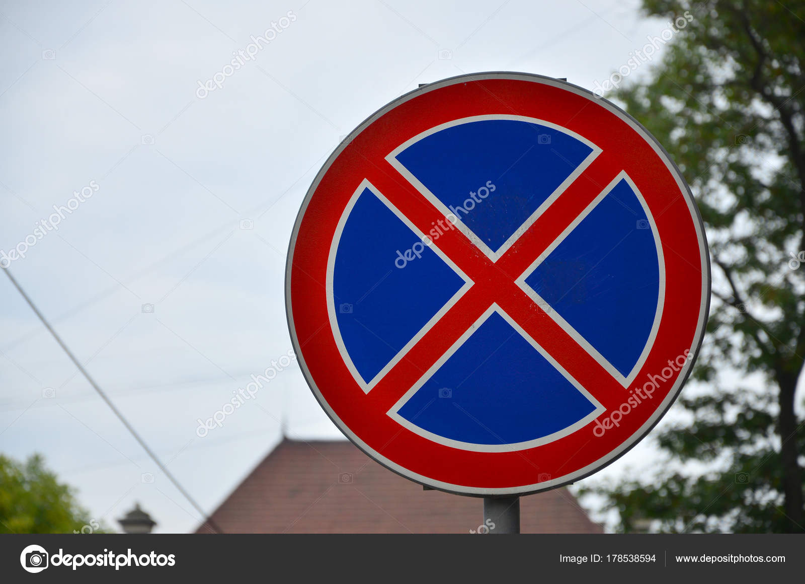 Road Sign Red Cross Blue Background Sign Means Parking Prohibition