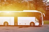 Bílá turistický autobus na výlety. Autobus zaparkoval na parkovišti u parku