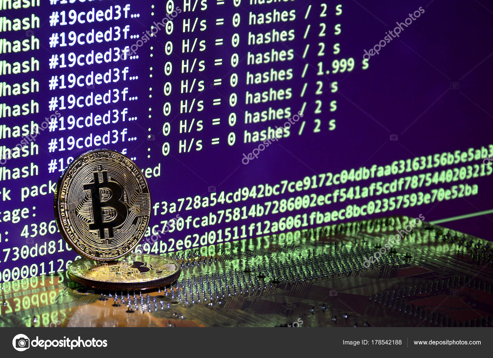 Digital Process Cryptocurrency Mining Using Gpus Bitcoins Video Card Working Stock Photo