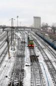 Fotografie Kharkiv landscape with railroad tracks near the South Railway Station. Fisheye photo with artistic distortion