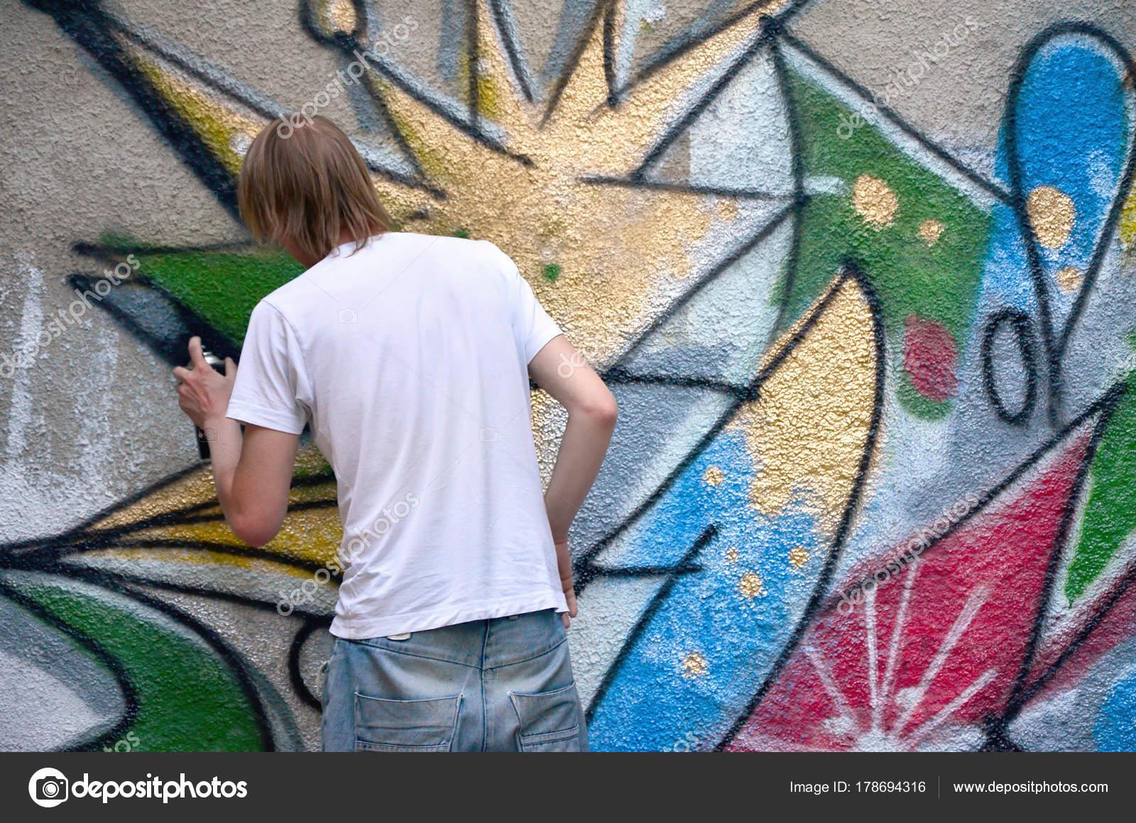 Foto Processo Desenho Padrão Grafite Velho Muro Concreto