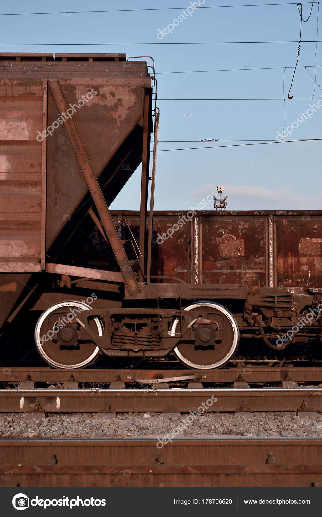 Detailed Photo Railway Freight Car Fragment Component Parts