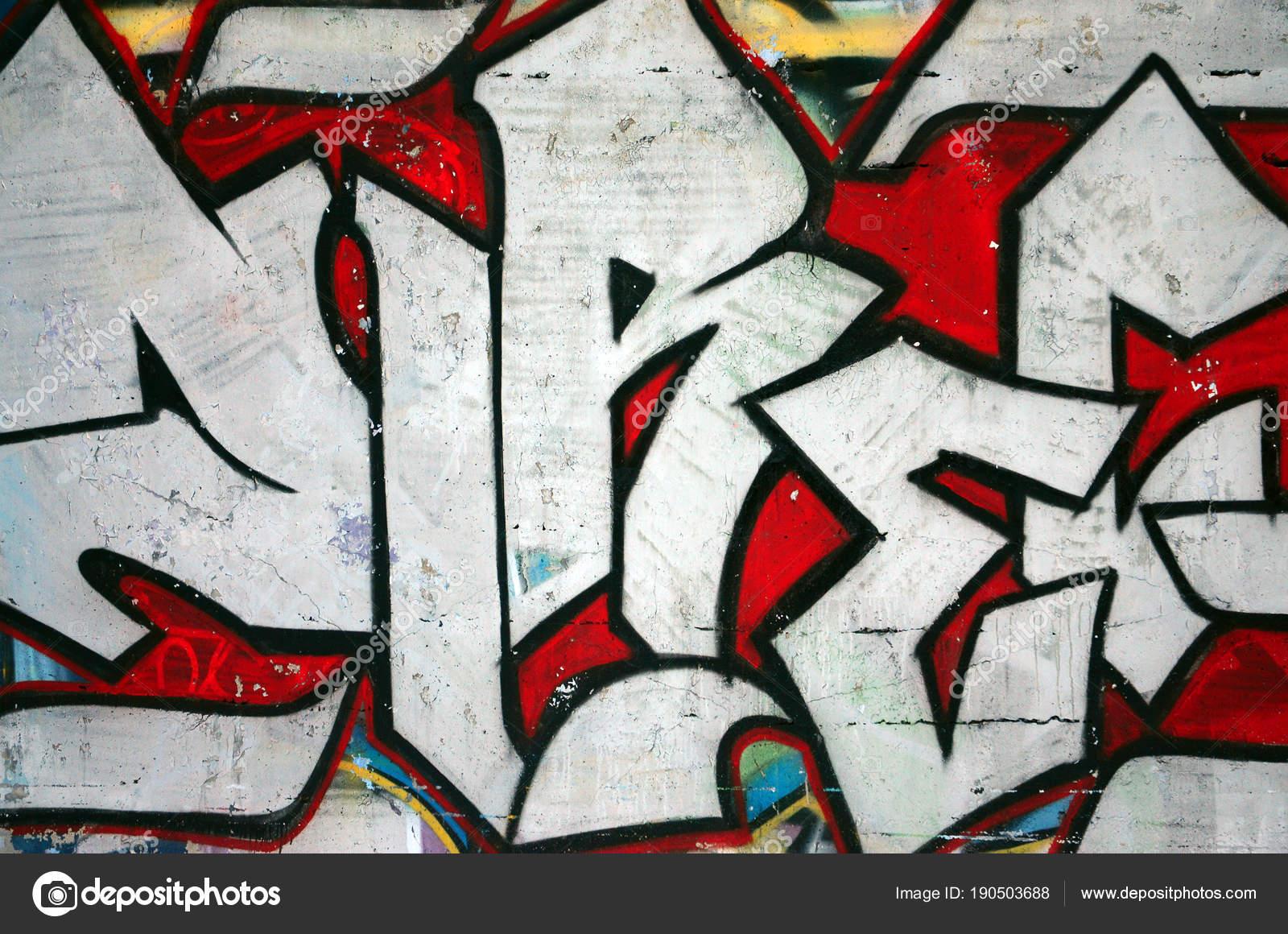 Die Alte Mauer Farbe Graffiti Zeichnen Rote Aerosol Farben Lackiert