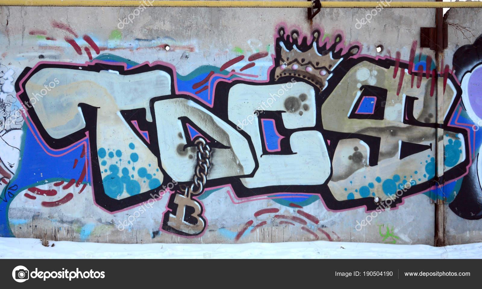 Die Alte Mauer Farbe Graffiti Zeichnen Blau Aerosol Farben Lackiert