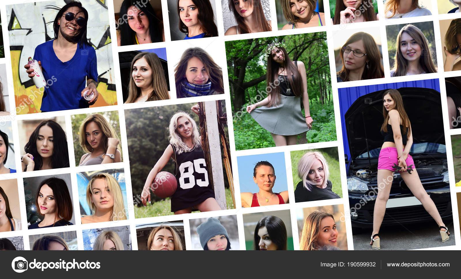 Collage Retratos Grupo Jovenes Caucasicas Para Red Social Juego