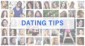 Dating tips. The title text is depicted on the background of a collage of many square female portraits. The concept of service for dating