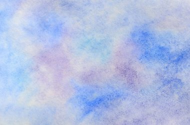 Abstract background illustration in the form of watercolor strokes and drops, executed in cold blue and purple tones