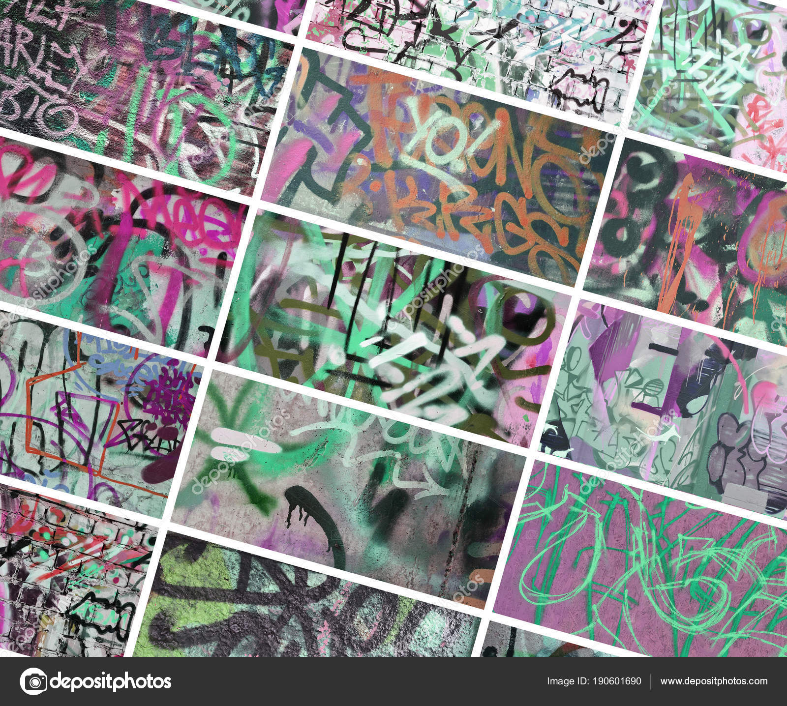 A Set Of Many Small Fragments Of Tagged Walls Graffiti Vandalism Abstract Background Collage In