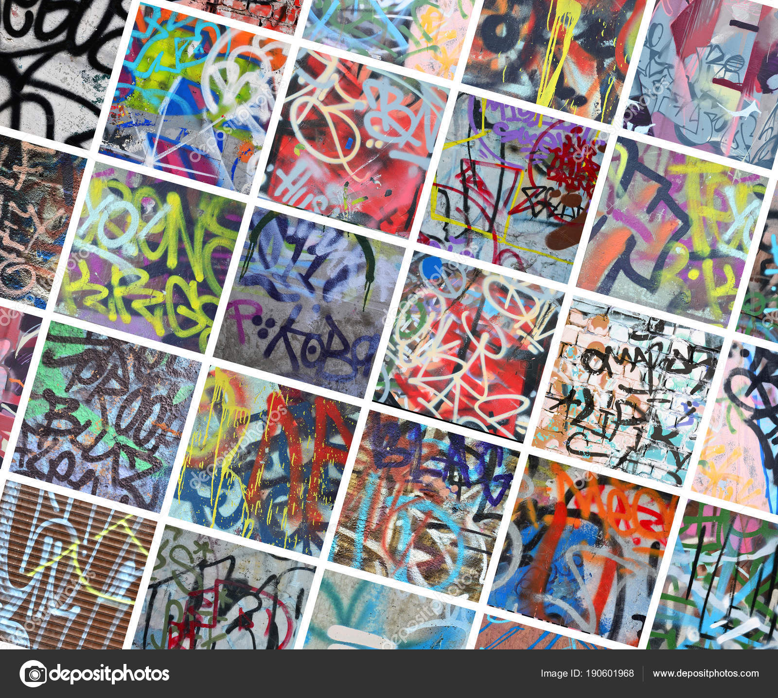 A set of many small fragments of tagged walls graffiti vandalism abstract background collage photo by mehaniq