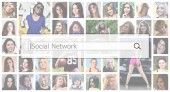 Social network. The text is displayed in the search box on the background of a collage of many square female portraits. The concept of service for dating