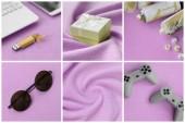 Fényképek Egy sor képek, divatos ifjúsági objektumokkal puha polár felületre. Pasztell sárga és rózsaszín színekben
