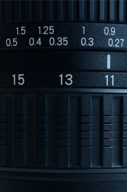 Fragment of a wide angle zoom lens for a modern SLR camera. The set of distance values is indicated by white numbers on the black body
