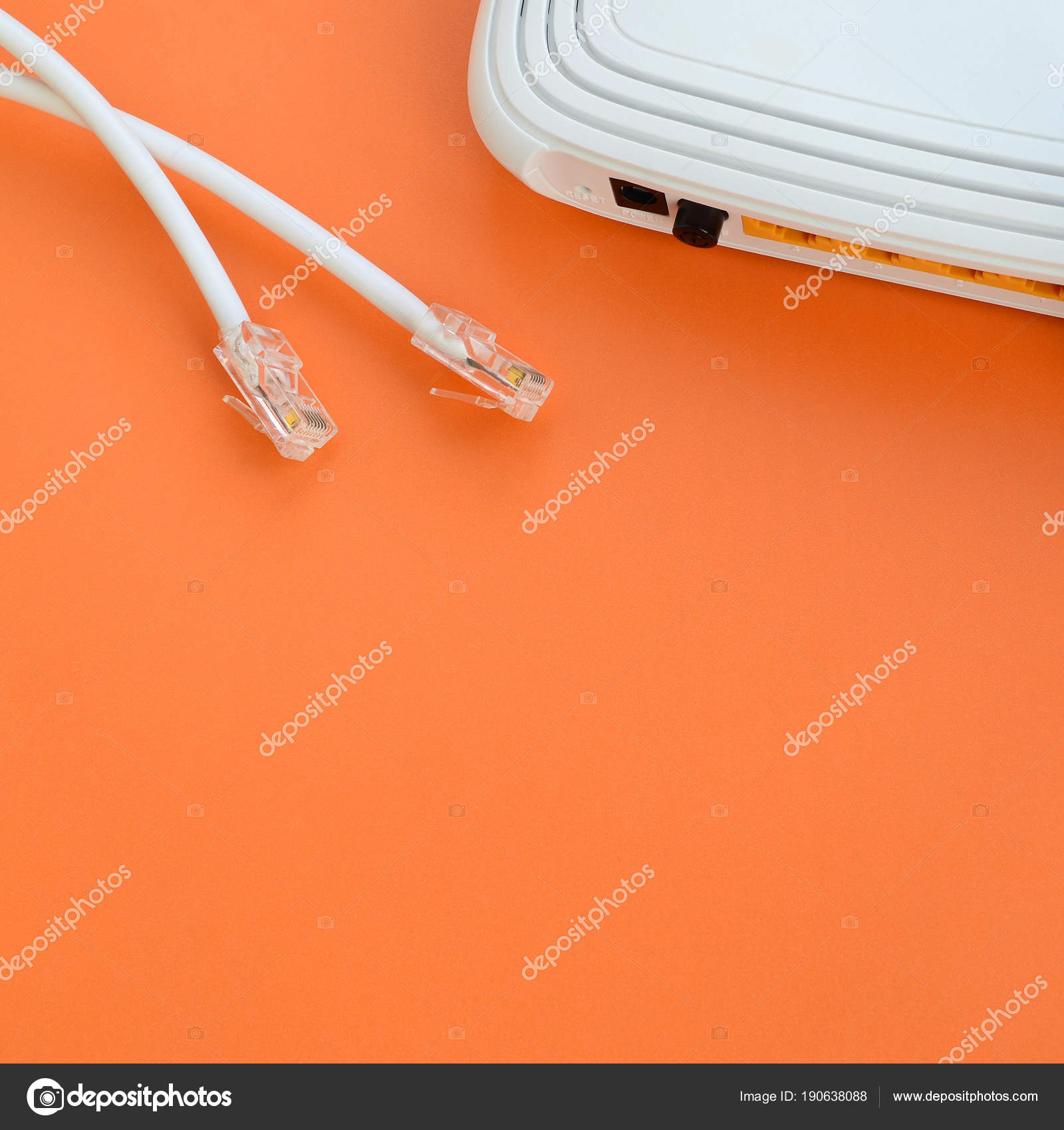 Internet Router Cable Plugs Lie Bright Orange Background Wiring And On A Items Required For Connection Photo By Mehaniq