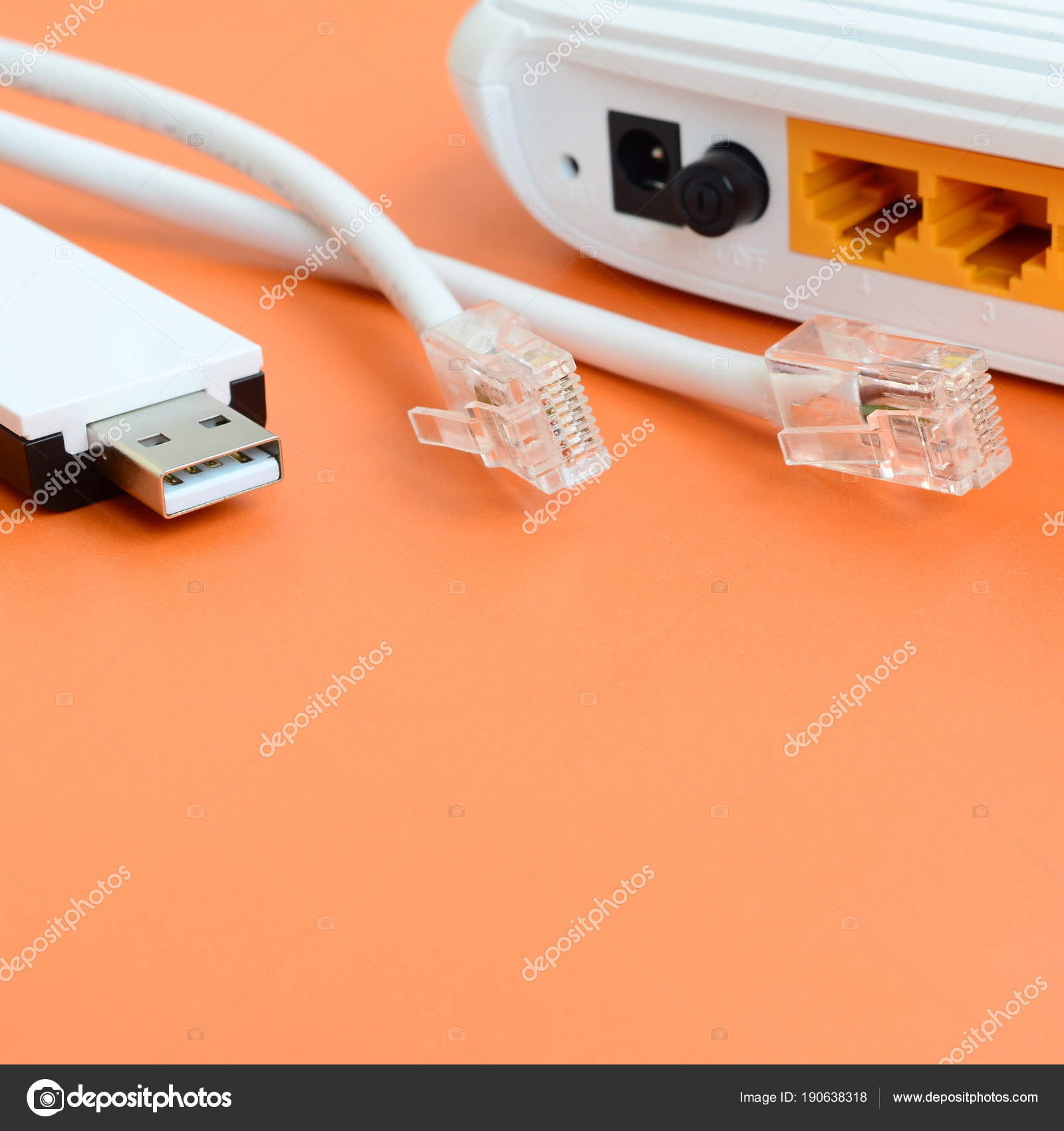 Internet Router Portable Usb Adapter Cable Plugs Lie Bright Home Wiring Stock Photo