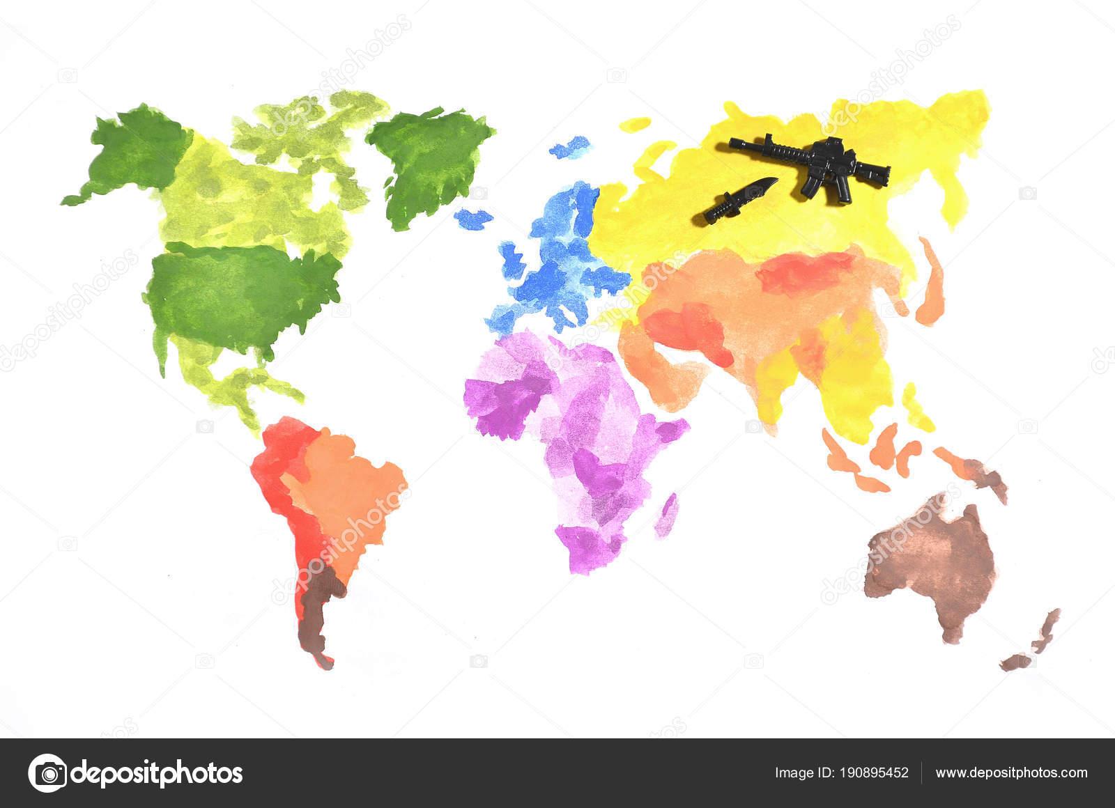 Dünya Haritası üzerinde Beyaz Kağıt Bir Siyah Oyuncak